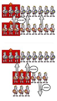 En la parte superior se describe el orden de batalla hoplita habitual, mientras que en la parte inferior aparece la estrategia de Epaminondas en Leuctra. El ala izquierda, más fuerte, avanza, mientras que la débil ala derecha retrocede. Los bloques rojos muestran la localización de las tropas de élite en cada falange.