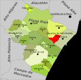Localización de Alquerías del Niño Perdido respecto a la comarca de la Plana Baja